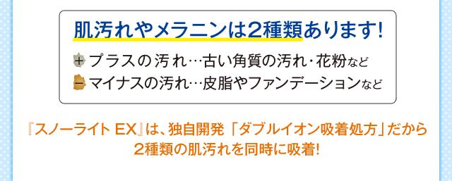 『スノーライト EX』は、独自開発 「ダブルイオン吸着処方」だから2種類の肌汚れを同時に吸着!